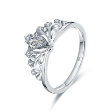 18K White Gold Plated Ring Princess Queen Crown cz Rings 925 Sterling Silver