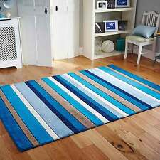 NEW WOOL  Modern Stripes Design RUG COLOUR BLUE SIZE S-M-LARGE  NOW ON SALE