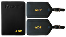 Personalized Monogrammed Leather RFID Passport Holder Cover and 2 Luggage Tags