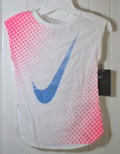 NWT GIRLS NIKE WHITE SHORT SLEEVE CREW NECK ATHLETIC CUT T SHIRT SZ 6X