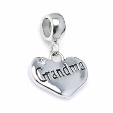 Sterling Silver Love Grandma Heart CZ Crystal Dangle for European Charm Bracelet