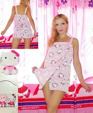 NWT Sanrio Hello Kitty HK AND FACES print Burnout PLUSH Shower Wrap, L