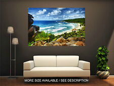 Wall Art Canvas Print Picture Beautiful Beach and Big Stones-Unframed
