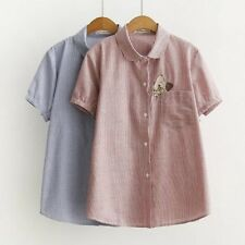Womens Striped Print Ice Cream Cat Embroidered Short Sleeve Blouse Tops Shirt ML