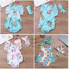 Newborn Baby Girls Floral Romper Bodysuit Jumpsuit Sunsuit Clothes Set Photo Set