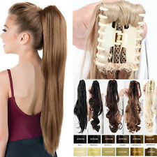 Hot Ponytail Layered Thick Claw Clip in on Hair Extensions Curly Wavy as Human A