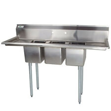 """58"""" Stainless Steel 3 Compartment Commercial Sink 2 Drainboards Prep Table Pot"""