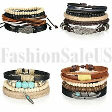 HOT Jewelry Fashion Lots Style Leather Cute Buddha Beads Charm Bracelet Bangle