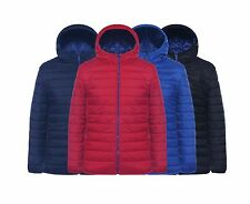 Mens Silk Soft Quilted Jacket Padded Bubble Puffer Hooded Winter Zip Coat 4 CLRS