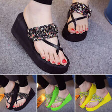 Chic Womens Sweet Floral Mid Platform Open Toe Sandal Slipper Wedge Heels Shoes