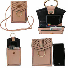 Women's Cell Phone Cross Body Bag with Shoulder Strap Faux Leather Purse Bag