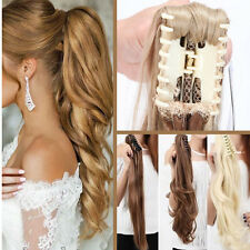 Summer Long Thick Ponytail Claw Clip in Hair Extentions Blonde Black Mix Human A