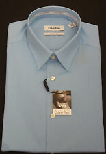 Calvin Klein Solid Tonal Striped Dress Shirt, Body Slim Fit Lapis