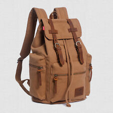Unisex Vintage Canvas Leather Backpacks Book Rucksack School Bags Laptop Satchel