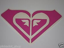 "Roxy 7 5/8"" Surf Skate Snow Board Decal Sticker Die Cut Pink Silver Trim"