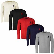 Mens US Polo Assn Jumper Knitwear Sweater CableKnit Top Warm Winter Crew Neck