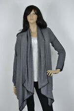 S-M-L Boutique Brand Drape Open Cardigan with Pleather Trim- Charcoal Gray