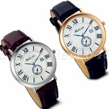 Fashion Mens Date Dial Calendar Leather Band Sports Analog Quartz Wrist Watch