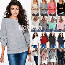 Women Winter Long sleeve Knitted Sweater Loose Jumper Pullover Tops Blouse Shirt