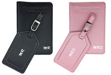 Mr and Mrs Passport Cover and Luggage Tag Set of 2 - Genuine Leather