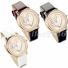 Womens Double Layers Quicksand Heart Dial Leather Band Quartz Analog Wrist Watch
