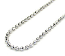 "3MM 14KT White Gold Moon Cut Chain Diamond Cut Necklace - Size 24""-40"" Inches"