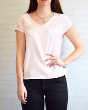 PLANET Pale Pink Top Silver Bead Short Sleeve V Neck Top | SALE | RRP �29