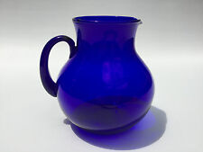 vintage cobalt blue glass water pitcher
