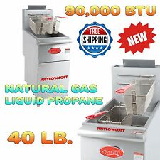 Propane or Natural Gas Commercial 40lb Stainless Steel Floor Fryer Fast Food Fry