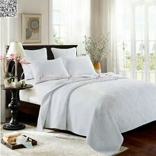 White Queen/King Patchwork Quilted BedSpreads Set New Embossed Cotton Coverlet