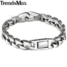 Curb Cuban Link Bracelet Mens Chain Silver 316L Stainless Steel Knot Charm 10mm