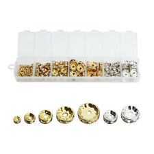 6/8/10/12MM Gold Silver Plated Metal Crystal Loose Spacer Beads Jewelry Making
