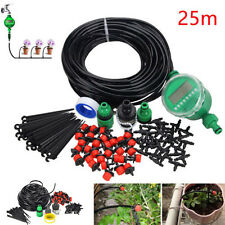 Manual/Automatic Timer Drip Irrigation Plant Watering Garden Lawn Hoses Set New