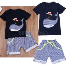 Toddler Kids Boy Baby Whale Summer Clothes Outfit T-Shirt with Pants Shorts Set