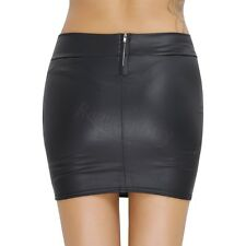 Hot Women Sexy Bodycon Solid Tight Short Faux Leather Straight Mini Skirt Dress