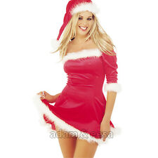 Womens Sexy Mrs Claus Fancy Dress Costume Sizes Small Medium Large Extra Large