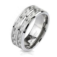 """Coolbodyart Unisex solid Titanium ring silver """"Carbon W"""",with white CARBON Inlay"""