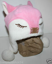 baby Gap NWT Girl's  Pink Fleece Fox Hat w/ Faux Sherpa Lining