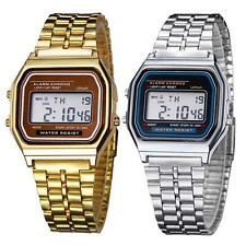 Retro Women Men Stainless Steel LED Digital Alarm Sport Stopwatch Wrist Watch A*