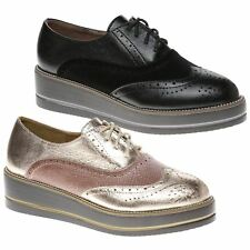 Erin Womens Low Wedges Heels Flatforms Lace Ups Ladies Two Tone Brogues Size New