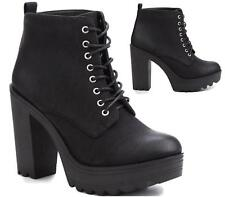 LADIES FAUX LEATHER CHUNKY LACE UP PLATFORM GOTH PUNK WOMENS ANKLE BOOTS SHOES