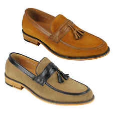 New Mens Real Leather Tassel Penny Loafers Retro MOD Shoes Brown Black UK Size