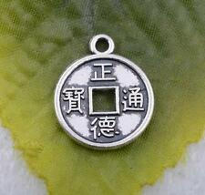Wholesale 20pcs/50pcs tibet Silver beautiful coin charms pendant 15X18mm# A5139