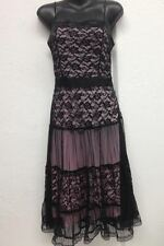 Ladies Clothes Ajoy Evening Black/Pink Overlay Lace Dress Size 8 Gothic Emo