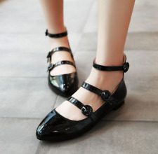 Womens Shoes Patent Leather Mary Janes Ballet Flats Strappy Lolita Oxfords Heels