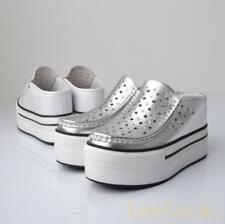 Stylish Creepers Womens Platform High Wedge Heels Leather Mules Sandals Shoes Sz