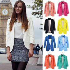 2017 New Fashion Womens 3/4 Sleeve Candy Color Blazer Casual Jacket Suit Coat