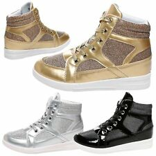 Kennedy Womens Hidden Wedges Low Mid Heels High Top Trainers Ladies Ankle Boots