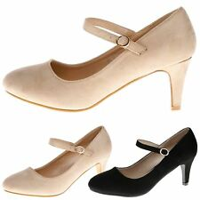 Clara Womens Low Mid Heels Ladies Pumps Work Office Shoes Strap Mary Janes Size