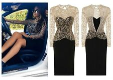 CELEB BLACK GOLD SPARKLE SLINKY FITTED MIDI EVENING PARTY COCKTAIL DRESS 6 -18